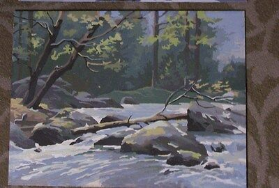 Brook Scene With Log Across Stream In Woods- Paint By Number-Vintage-12X16