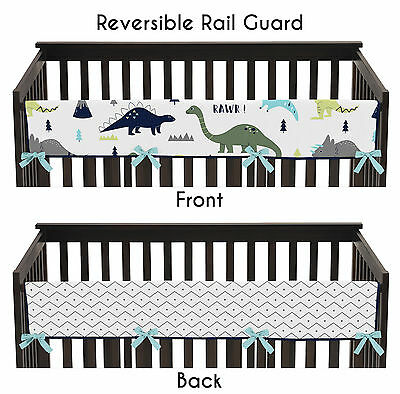 Blue And Green Mod Dinosaur Front Rail Guard Crib Cover Baby Teething Protector