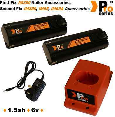2 x ProSeries Batteries/Charger Set for Paslode IM350 6v 1.5ah