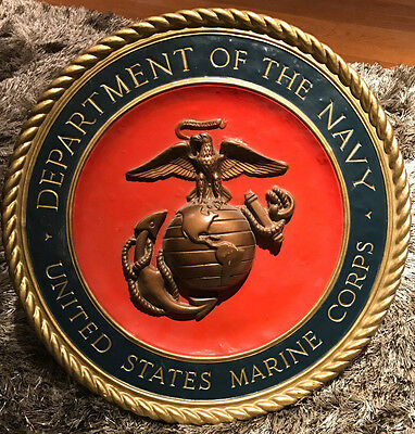 "US Dept of the Navy United States Marine Corps Wall Hanging Semper Fi 15"" Plaque"