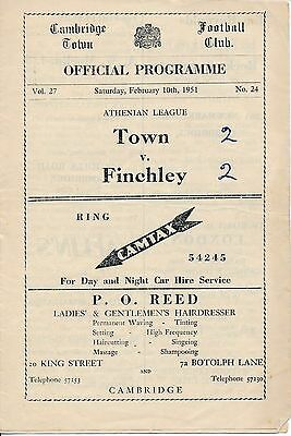 Cambridge Town v Finchley (Athenian League) 1950/1