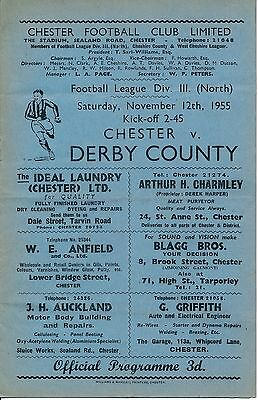 Chester v Derby County 1955/6 - Football Programme