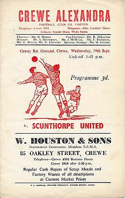 Crewe v Scunthorpe United 1956/7 - Football Programme