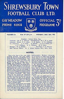 Shrewsbury v Walsall 1955/6 - Football Programme