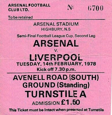 TICKET: Arsenal v Liverpool 1977/8