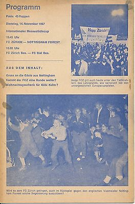 Zurich v Nottingham Forest (Fairs Cup) 1967/8