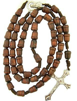 Wooden Acorn Prayer Bead Cord Rosary with Virgin Mary Madonna Medal Centerpiece