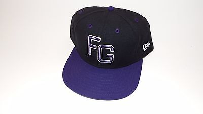 New Era Hat Cap Fitted Fg Eagle In Back Size 7 3/8 Black Purple