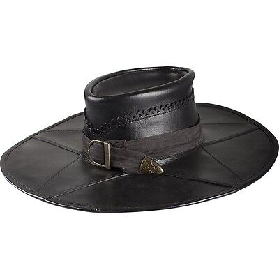 Witch Hunter Leather Hat, Black, S, M, L LARP, Theater, Steampunk, COSPLAY