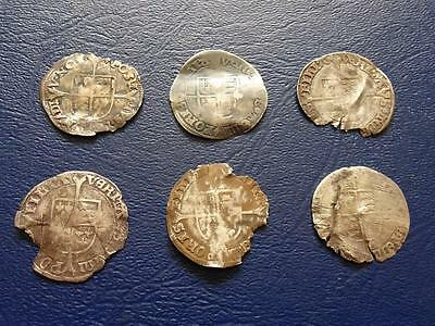 6 Poor Queen Mary Hammered Silver Groat / Fourpence Detectors Great Britain Uk