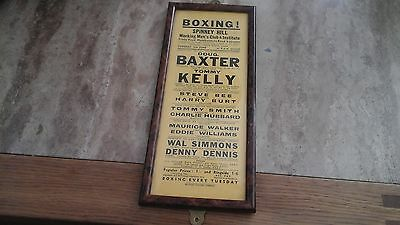 Vintage Boxing Poster In Frame Spinney Hill Working Mans Club Leicester