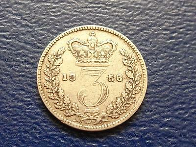 Queen Victoria Silver Threepence 1856 Great Britain Uk