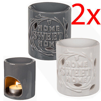 Set Of 2 Ceramic Oil Burner Aroma Scent Home Gift Tart Yankee Fragrance Lamp New