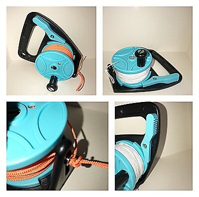 Scuba Diving Ratchet Reel 150ft / 45m Light Blue with White or Orange Line