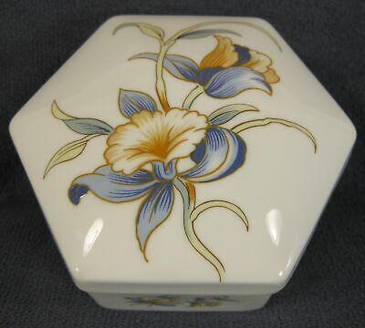 Aynsley Just Orchids Hexagonal Box with Lid Fine Bone China England 4""