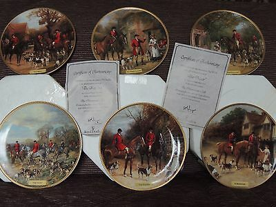 Royal Doulton 6 wall plates from The Huntsman Call with certificates