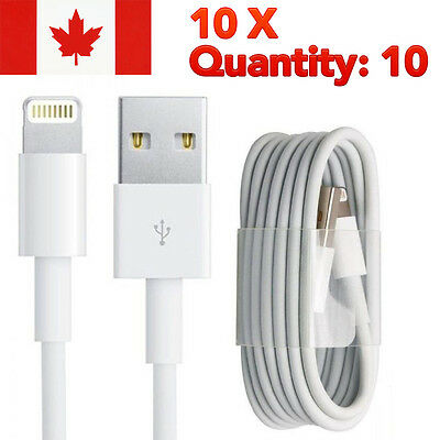 Lot of 10 USB Data Sync Charger Cable for Apple iPhone 5, 5C, 6 ,6S, 7, 7 Plus