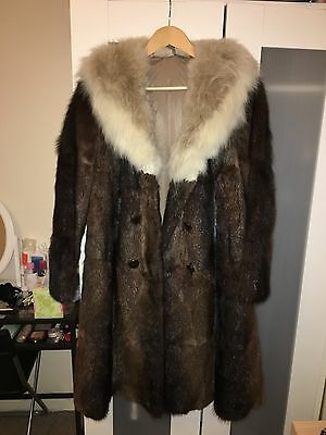 Vintage brown real fur coat