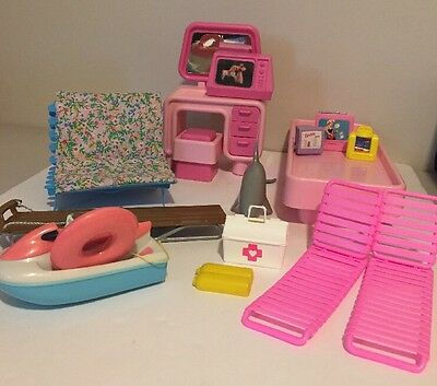 Barbie Furniture Lot Pink Vanity, Futon, Bed Accessories and More 80s 90s