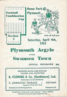 Plymouth Reserves v Swansea (Combination Cup) 1952/3