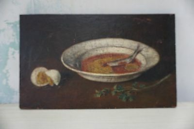 Oil on Wood Small Still life Painting of Sardine in bowl, egg, parsley
