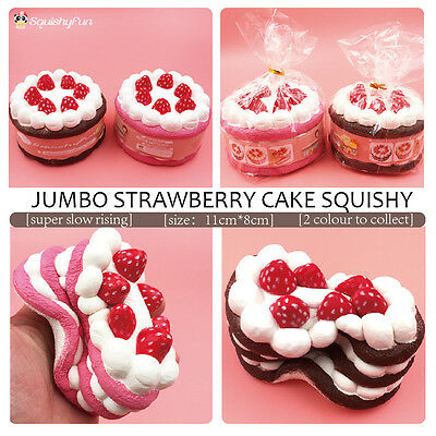11CM Strawberry Cake Squishy Toy Slow Rise Cellphone Strap Sweet Smell US Stock