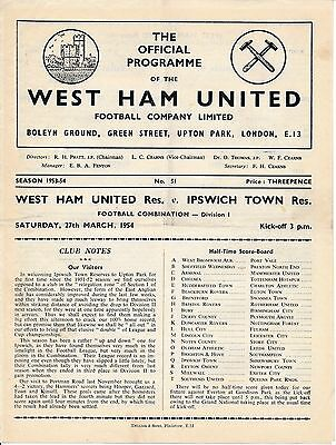 West Ham Reserves v Ipswich Town (Combination) 1953/4