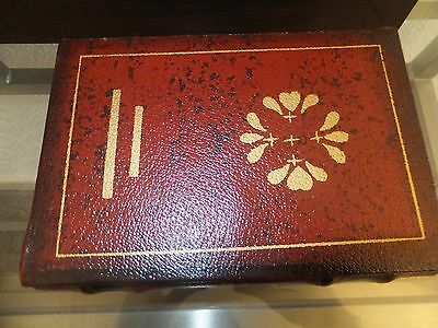 Vintage 1990's Decorative  Wooden  Leather Box Shaped Like A Book