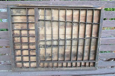 Vintage Wooden Printing Tray Drawer Shadow Box - Smaller Size - Diagonal Lines!