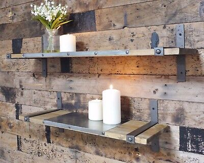 Set Of Two Industrial Rustic Warehouse Style Wooden Shelves