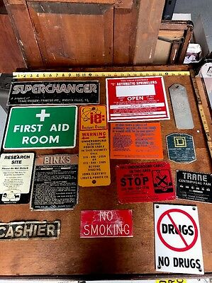 Vintage  Industrial Factory Sign Lot Danger Warning Gas Oil Eye Wash First Aid
