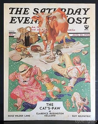 1933 JC Leyendecker Lawn Outdoor Picnic with Guernsey Cow SEP Cover Only