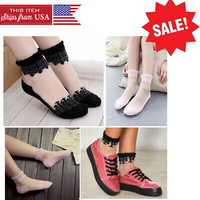 1-4 Pairs Sheer//Opaque Striped Mesh Nylon Ankle High Sock Lolita Pin-Up Vintage