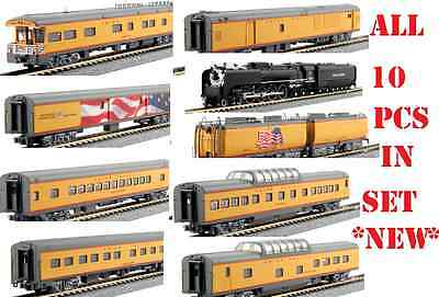 kato 126-0401 + 106-086 + 106-085 U. P.#844 fef + excursion 7 car set +tenders