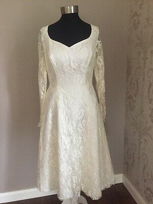 Vintage Inspired Size 10 Short Lace Wedding Dress With  Back Detail(156)