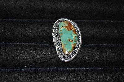Size 8.75 Handmade Sterling Silver and Turquoise Ring