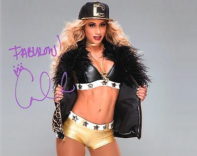 """WWE CARMELLA SIGNED WRESTLING PHOTO 8x10"""" NXT OFFICIAL PROOF & COA"""