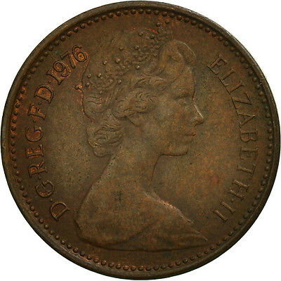 [#464797] Great Britain, Elizabeth II, 1/2 New Penny, 1976, VF(30-35), Bronze