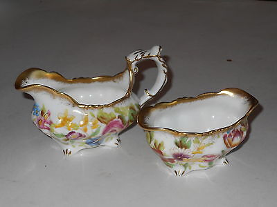 Antique Guilded Hammersley Queen Anne Handpainted Floral Creamer And Sugar