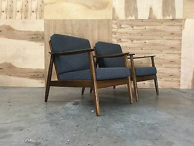 danish modern PAIR DUX LOUNGE CHAIRS mid century eames era