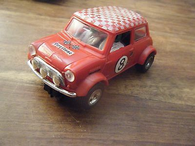 Scalextric Minni Cooper C7 Slot Car with Chrome back and rear bumpers - Red