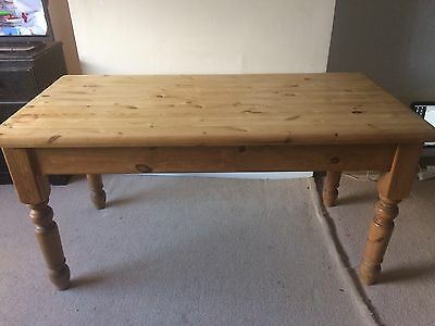 Reclaimed Solid Pine Classic Chunky Farmhouse Kitchen Table 152cm L x 75cm W