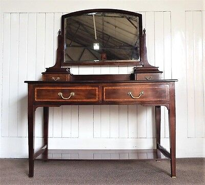 Antique Victorian inlaid dressing table - chest of drawers