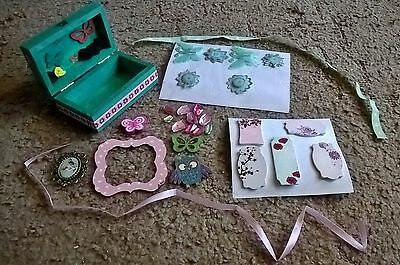 Green box with assorted craft bits mixed lot