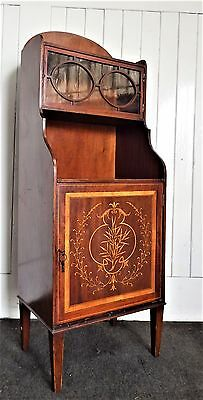 Antique Edwardian inlaid mahogany display side cabinet / cupboard