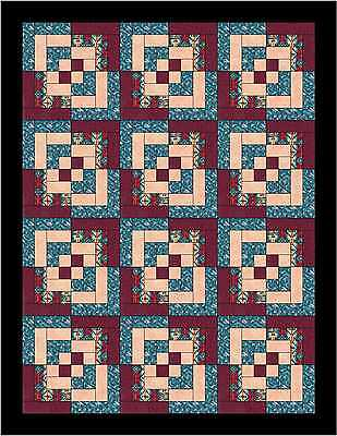 Native Log Cabin Twist  QUILT TOP - Not Quilted, Machine Pieced, Made in the USA
