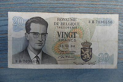 Belgium  Banknote 20 Francs   From Circulation  1964