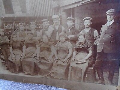 Victorian Photograph Of Fish Filleters On Grimsby Docks