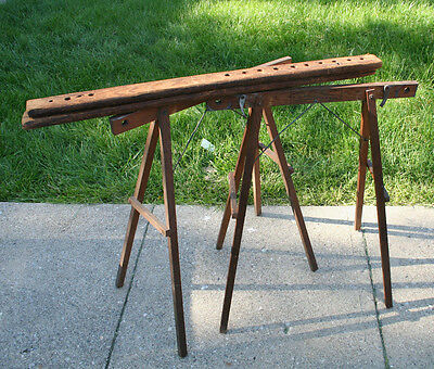 Vintage NuStyle Quilting Frame Wood Wooden Quilt  Embroidery Needlework Sawhorse