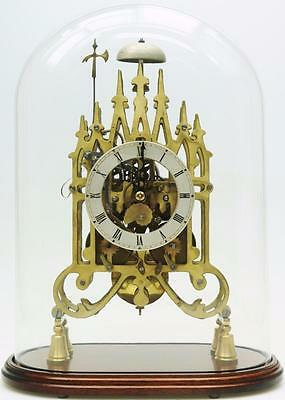 Vintage C1950 English Twin Fusee 8 Day Bell Striking Gothic Style Skeleton Clock